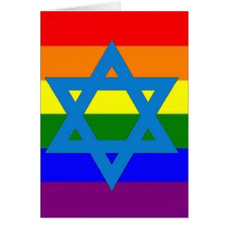 Jewish Gay Pride Flag Greeting Card