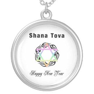 Jewish New Year Shana Tova Round Pendant Necklace