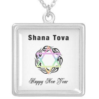 Jewish New Year Shana Tova Square Pendant Necklace