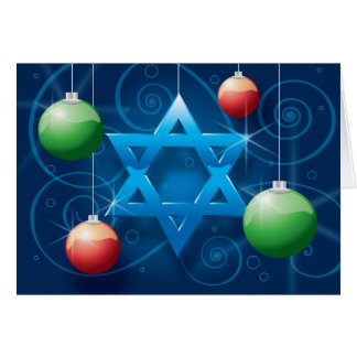 Jewish Star and Christmas Ornament Holiday card