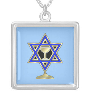 Jewish Star Square Pendant Necklace