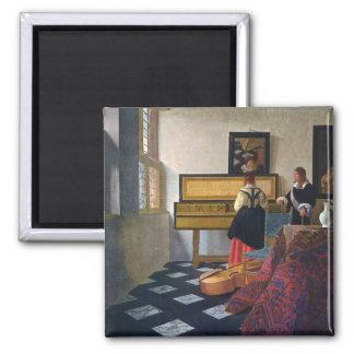 Johannes Vermeer's The Music Lesson (circa1663) Square Magnet