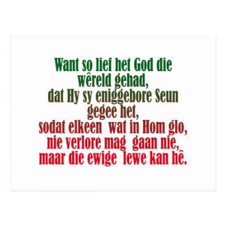 John 3:16 Afrikaans Postcard