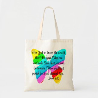JOHN 3:16 RAINBOW BUTTERFLY BUDGET TOTE BAG