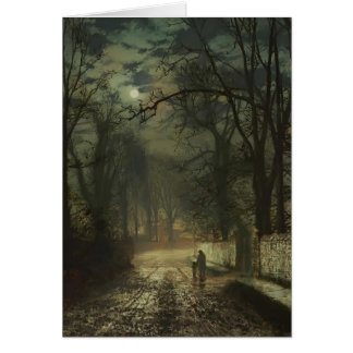 John Atkinson Grimshaw- A moonlit lane Greeting Card