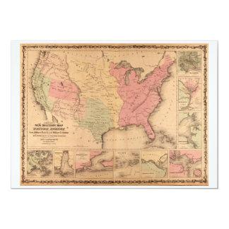 Johnson's Illustrated Military U.S. Map (1862) 13 Cm X 18 Cm Invitation Card