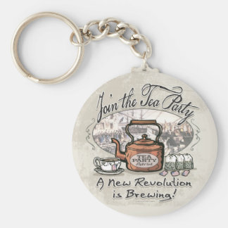 Join the Tea Party Tea Shirts and Gifts Basic Round Button Key Ring