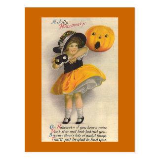 """ Jolly Halloween"" Vintage Halloween Card Postcard"