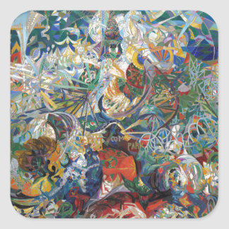 Joseph Stella - Battle of Lights, Coney Island Square Sticker