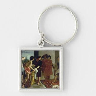 Joseph's Coat, 1630 Silver-Colored Square Key Ring