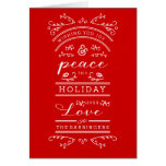 Joy Peace Typography Traditional Red Holiday Card