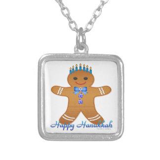 Judaica Hanukkah Gingerbread Man Menorah Square Pendant Necklace
