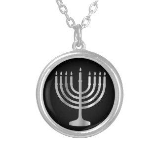 Judaism Menorah Round Pendant Necklace