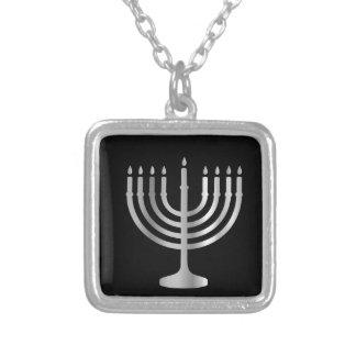 Judaism Menorah Square Pendant Necklace