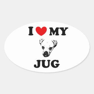 jug dog oval sticker