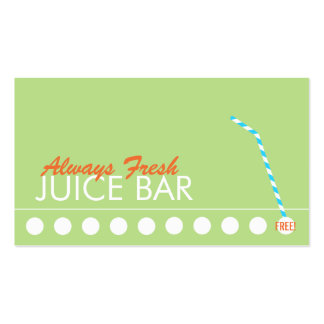 Juice Bar Customer Loyalty Punch Pack Of Standard Business Cards
