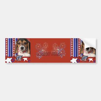 July 4th Firecracker - Beagle Puppy Bumper Sticker