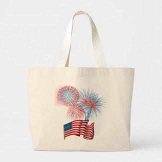 July 4th fireworks jumbo tote bag