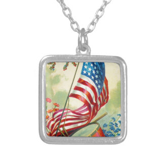 July 4th square pendant necklace