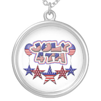 July 4th Stars Round Pendant Necklace