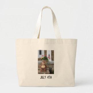 July 4th Teddy Bear Tote Bag