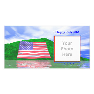 July 4th - U.S. Flag Landscape Personalized Photo Card