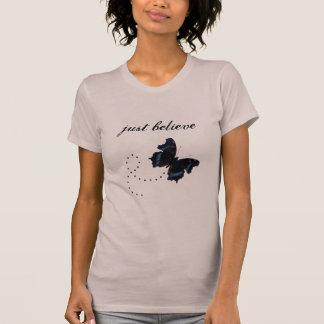 Just Believe T-shirt with Butterfly Women Teens