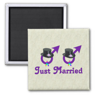 Just Married Formal Gay Male Square Magnet