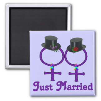 Just Married Formal Lesbian Square Magnet