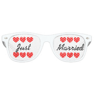 Just married fun hearts bachelorette party shades