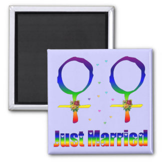 Just Married Lesbians Square Magnet