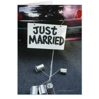 Just Married sign on back of car Greeting Card