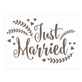 Just Married Slate Gray Floral Fern Hearts Wedding Postcard