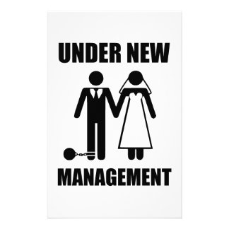 Just Married, Under New Management Stationery Paper