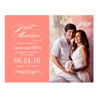 Just Married Wedding Announcements   Coral Pink Postcard