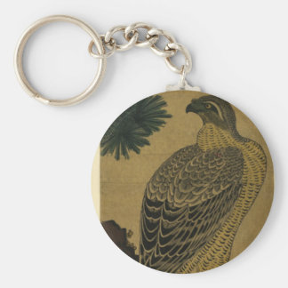 Kachoga. Falcon on a pine branch, rising sun above Basic Round Button Key Ring