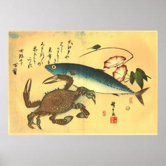 Kani & Saba - Hiroshige's Japanese Fish Print