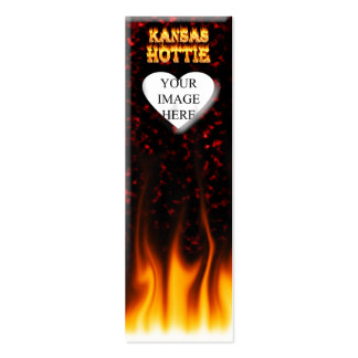 Kansas Hottie fire and red marble heart. Pack Of Skinny Business Cards