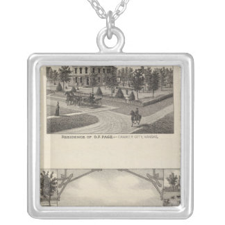 Kansas Live Stock County in Cawker City Square Pendant Necklace