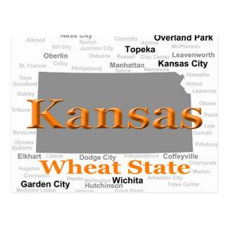 Kansas State Pride Map Postcard