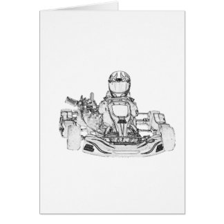 Kart Racer Pencil Sketch Greeting Card