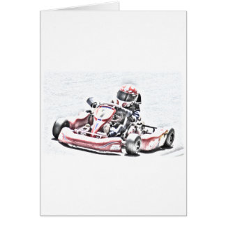 Kart Racer Shaded Sketch Greeting Card