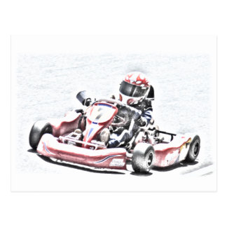 Kart Racer Shaded Sketch Postcard