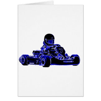 Kart Racing Blue and White Greeting Card