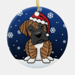 Kawaii Cartoon Brindle Boxer Christmas Round Ceramic Decoration