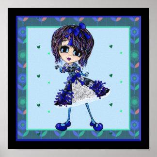 Kawaii Girl Saphire blue lolita Poster