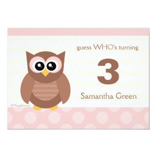 Kawaii Owl Birthday Party Invitations