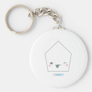 Kawaii White Pentagon Basic Round Button Key Ring