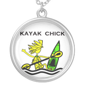 Kayak Chick Designs & Things Round Pendant Necklace