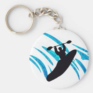 Kayak Kayaker Kayaking Basic Round Button Key Ring